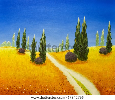 Tuscany trees - original oil painting, painted in field in Tuscany. I'm the author of this painting.