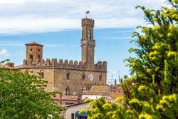 Tuscany, Volterra: skyline and panorama view of the old Etruscan and medieval city. Priori Palace and its tower are clearly visible. Pisa, Italy.