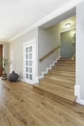Tuscany - wide and wooden stairs, bright interior