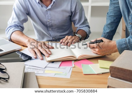 Tutor books with friends, Young students campus or classmates helps friend catching up workbook and learning tutoring in classroom, teaching, learning, People, technology, Education school concept.