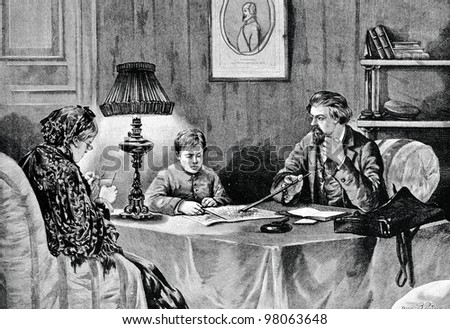 "Tutor. Engraving by Shyubler  from picture by painter Reinke. Published in magazine ""Niva"", publishing house A.F. Marx, St. Petersburg, Russia, 1888"