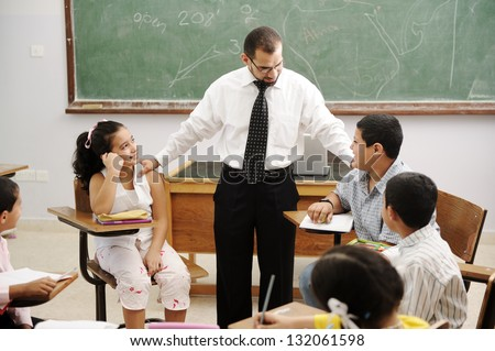 Tutor with class of students