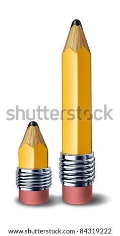 Tutoring and coaching education symbol represented by a big pencil and a small pencil showing the relationship concept of teacher and student side by side .