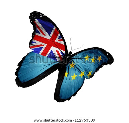 Tuvalu flag butterfly flying, isolated on white background