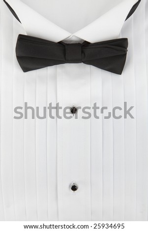 tuxedo shirt and bowtie close up