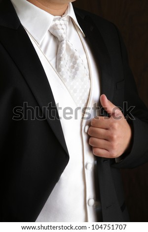 Tuxedo / Standing groom in a black tuxedo. Image was taking during a wedding.