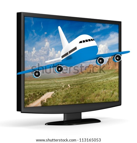 TV and airplane on white background. Isolated 3D image