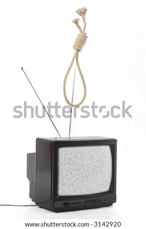 TV and hangman noose rope. TV public opinion concept