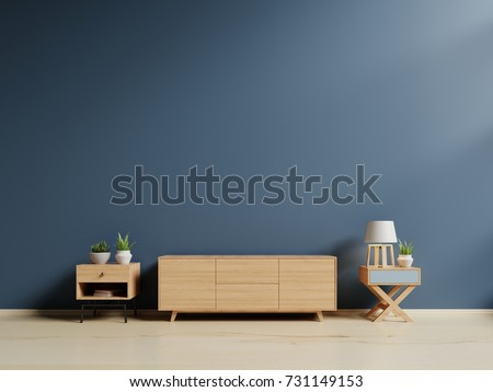 Tv cabinet in modern empty room,minimal designs, 3d rendering