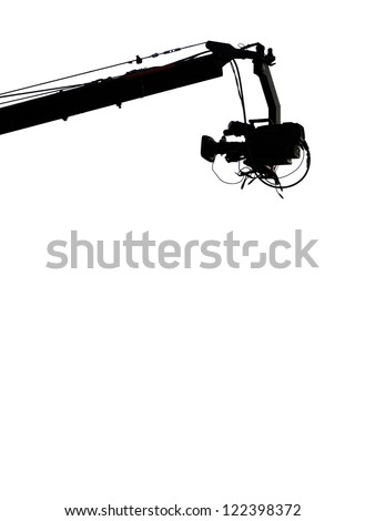 TV Camera on a Crane, isolated, with copy space bellow