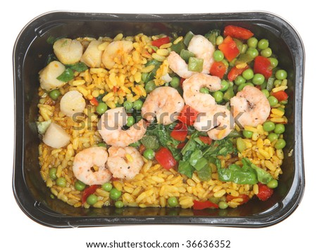 TV Dinner of paella with king prawns and scallops
