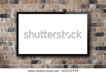 TV display on old brick wall background #163561994