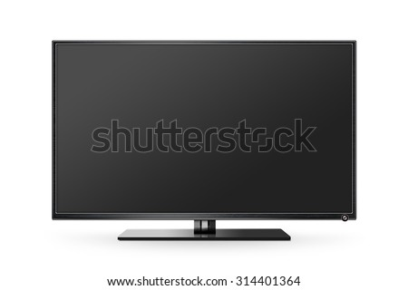 TV flat screen lcd, plasma realistic illustration, tv mock up. Black blank HD monitor mockup. Modern video panel black flatscreen. Widescreen show your business presentation on display device mokcup #314401364