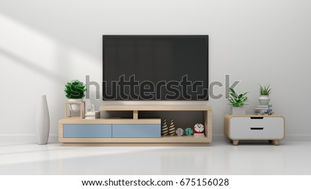 TV  in modern empty room,minimal designs, 3d rendering