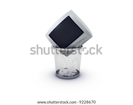 tv in recycle bin on white background