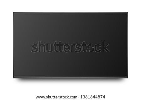 TV 4K flat screen lcd or oled, plasma realistic illustration, Black blank HD monitor mockup, Modern video panel black flatscreen with clipping path #1361644874