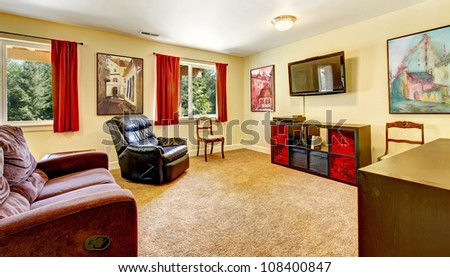 Red Curtains beige red curtains : Tv Living Room With Art And Red Curtains And Beige Carpet With ...