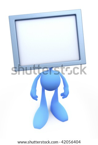TV-Man. Cartoon man with the TV-Head. TV screen was left blank to fill it at your own leisure. 3D rendered image