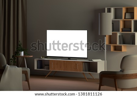 Tv mockup in living room at night. Tv screen, tv cabinet, chairs, bookshelf. 3d illustration