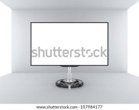 TV monitor with blank white screen