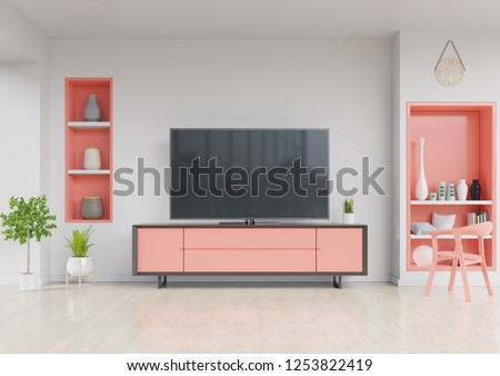 TV on cabinet  in modern living room with chair,Wall shelf and plant on white wall background. living coral color of the Year 2019,3d rendering.