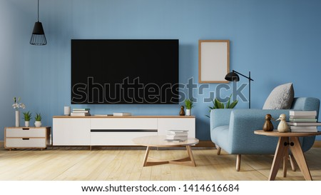 TV on stand in modern living room with sofa,table,flower and plant on wooden living coral colorvwall background. living coral color of the Year 2019 ,3d rendering.