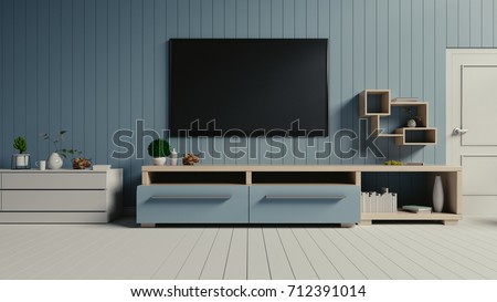 TV on the blue wall in modern living room,3d rendering