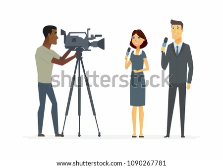 TV presenters - cartoon people characters illustration isolated on white background. Young good-looking smiling reporters holding microphones and a cameraman doing a report. Concept of broadcasting