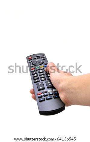 tv remote and women hand isolated white