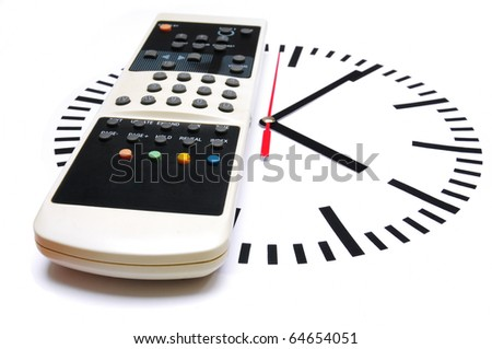 TV remote control on top of a clock