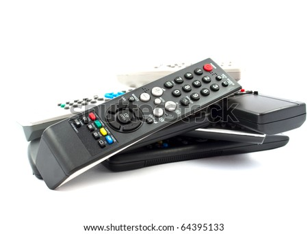 TV remote on a white background