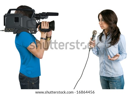 TV reporter presenting the news in studio, isolated on white background