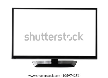 TV screen with white display on white background