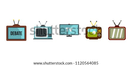 Tv set icon set. Flat set of tv set icons for web design isolated on white background