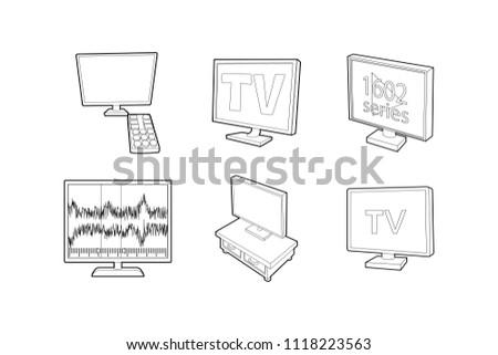 Tv set icon set. Outline set of tv set icons for web design isolated on white background