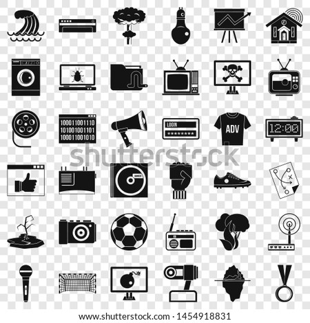 TV set icons set. Simple style of 36 tv set icons for web for any design
