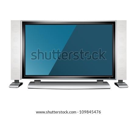 TV set isolated on white - stock photo