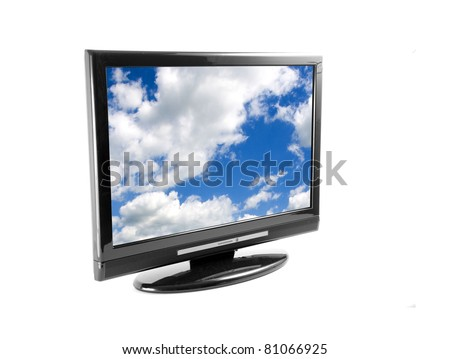 Tv set isolated on white, with clouds on screen