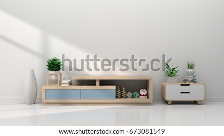 tv shelf   in  modern empty...
