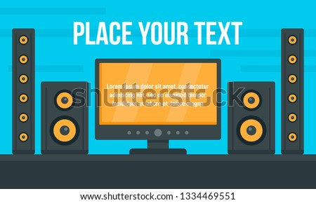 Tv stereo system concept banner. Flat illustration of tv stereo system concept banner for web design