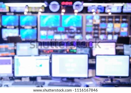TV Studio control room, not in focus
