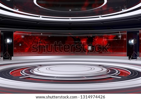 Tv Studio Interior. 3d Illustration.