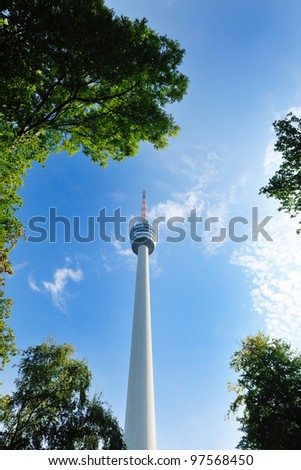 tv tower antena building in germany - stock photo