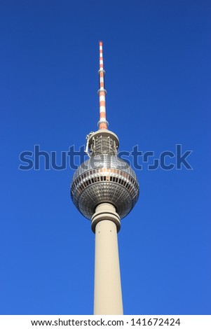 TV tower close up of the famous landmark in Berlin , Germany