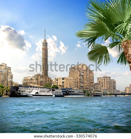 TV tower near Nile in Cairo at sunlight #330574076