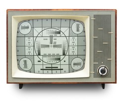 TV transmission test card on vintage b/w tv set isolated on white. Clipping path included/