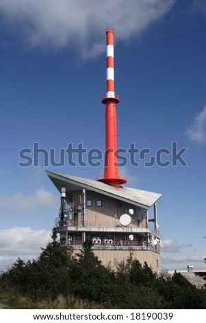 TV transmitter on a mountain top by name Lysa Hora (Bald Hill) at mountains Beskydy at Czech republic at Europe