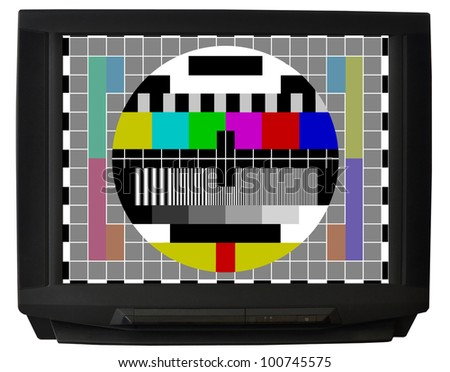 TV with test signal screen isolated on white background