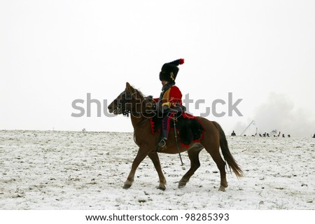 TVAROZNA, CZECH REPUBLIC - DECEMBER 3: History fan in military costumes reenacts the battle of Austerlitz, which Napoleon won in 1805, on December 3, 2005 near the village of Tvarozna, Czech Repuplic.