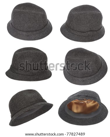 Tweed hat collection made of wool with white background